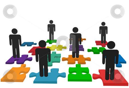 Symbol people team stand on jigsaw puzzle pieces stock vector clipart, Symbolize human resources issues and other people issues and solutions with symbol people on jigsaw pieces, which actually form a puzzle. by Michael Brown