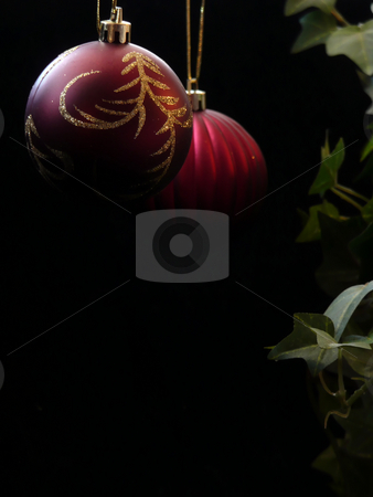 Red Christmas Ornaments with Ivy stock photo,  by Corinna Walby