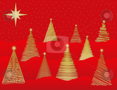 Nine Stylized Christmas Trees stock vector clipart, Nine Stylized Christmas Trees by Adrian Sawvel