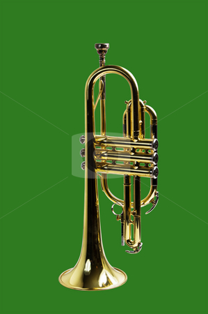 Trumpet isolated on green  stock photo, A trumpet isolated on a green background with a clipping path for easy removal by RCarner Photography
