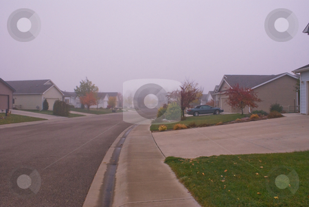 Morning fog in suburbs stock photo, An autumn morning with fog by RCarner Photography
