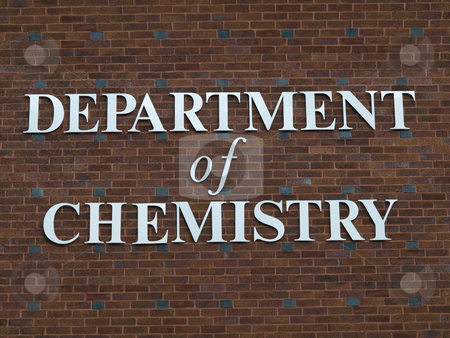 Department of chemistry sign stock photo, Department of chemistry sign on red brick wall by Laurent Dambies