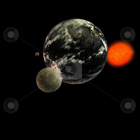 Solar System - Moon Earth Sun stock photo, Solar system. focus on: Moon Earth Sun With Clipping Path by Ralf Kraft