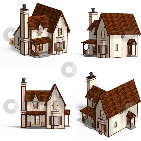 Medieval Houses Cottage stock photo, Four Views of an old fashioned house over white by Ralf Kraft