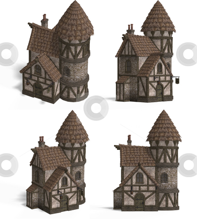 Medieval Houses - Inn stock photo, Four Views of an old fashioned house over white by Ralf Kraft
