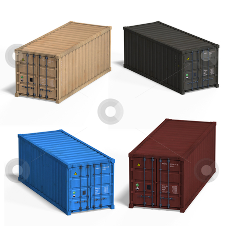 Collection of four container stock photo, Collection of four container With Clipping Path over white by Ralf Kraft