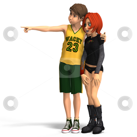 First Toon Love stock photo, Young Toon Couple in First Love With Clipping Path by Ralf Kraft