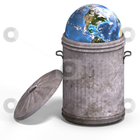 Earth in a trash can stock photo, Planet earth in a bin with Clipping Path by Ralf Kraft