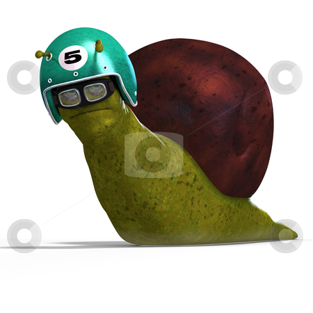 Cartoon Racing Snail stock photo, Funny snail with shell and Clipping Path over white by Ralf Kraft