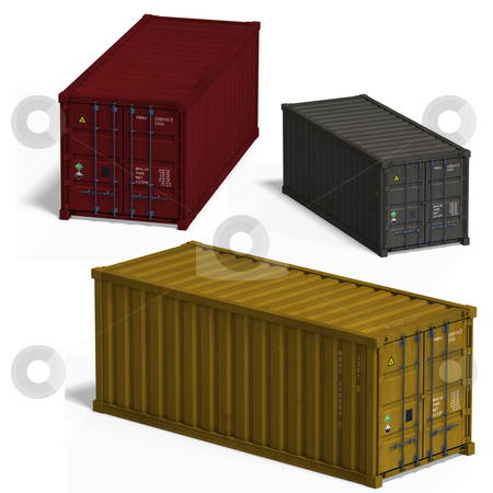 Collection of three container stock photo, Collection of three container With Clipping Path over white by Ralf Kraft