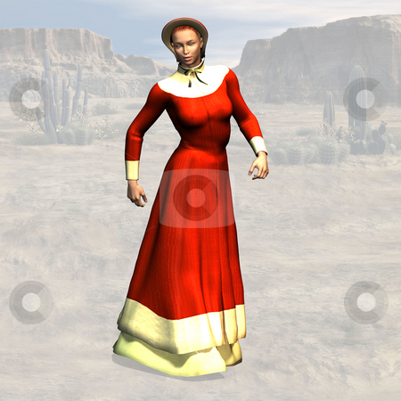 Teacher in red dress stock photo, Wild West Series with Cowboys, Indians, Good and Bad Guys Image contains a Clipping Path / Cutting Path for the main object by Ralf Kraft