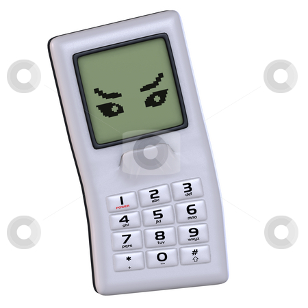 Cartoon cell phone with cute and funny emotional face stock photo, A multicolored cell phone with arms and legs Image contains a Clipping Path by Ralf Kraft