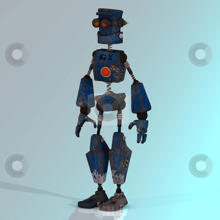 Cartoon robot with expressive emotion in his face stock photo, Futuristic cartoon roboter making funny moves Image contains a Clipping Path by Ralf Kraft