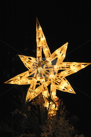Christmas Stars stock photo, A Christmas tree star atop a tree shines at night for the holiday season. by Janie Mertz
