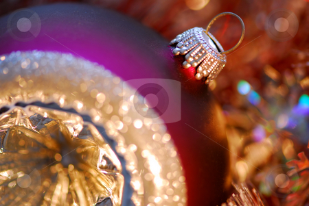 Christmas ornament stock photo, Closeup of purple christmas tree glass ball by Elena Elisseeva