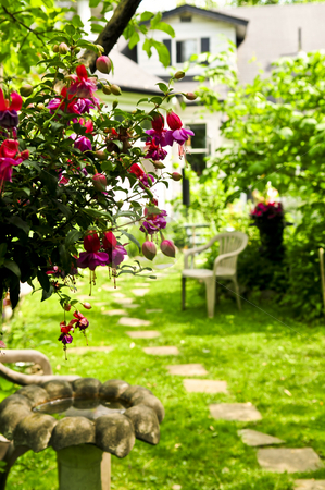 Home and garden stock photo, Path of stepping stones leading to a house in lush green garden by Elena Elisseeva