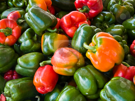 Bell Peppers stock photo, Delicious green red and yellow bell peppers at Ephrata's Green Dragon Market, Ephrata, PA. USA by Gary W. Sherwin