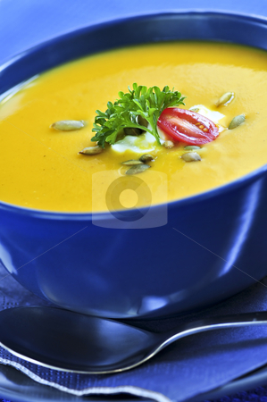 Pumpkin or squash soup stock photo, Pumpkin or squash soup in a bowl by Elena Elisseeva