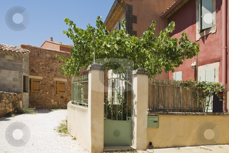 French Country Lane stock photo, street corner in a village in the south of France by Angela Arenal