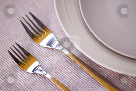 Plates and cutlery stock photo, Dinner place setting with plates and cutlery shallow dof by Elena Elisseeva