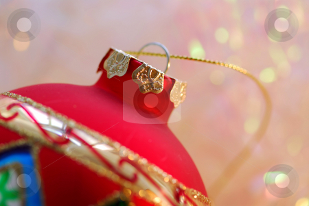 Christmas ornament stock photo, Closeup of red christmas tree ornament glass ball by Elena Elisseeva