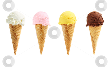 Assorted ice cream in sugar cones stock photo, Assorted ice cream in sugar cones isolated on white background by Elena Elisseeva