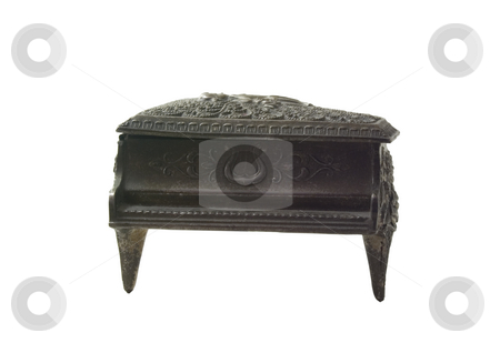 Piano Music Box Front stock photo, An antique floral piano shaped music box by John McLaird