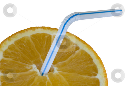 Orange juice drink stock photo, A ripe orange and drinking straw, isolated on white by Stephen Gibson