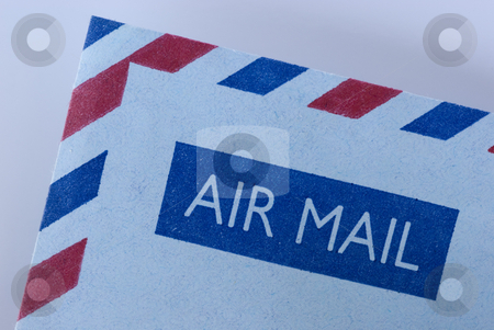 Airmail envelope stock photo, Airmail envelope with it's distinctive blue and red striped boarder by Stephen Gibson