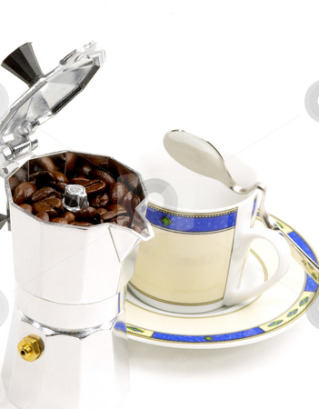 Mocha coffee machine and cup stock photo, Mocha coffee machine and cup on white background by Francesco Perre