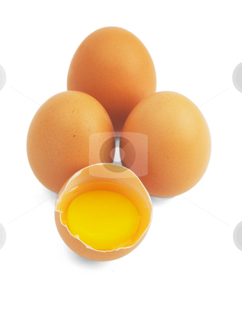 Eggs  stock photo, Four eggs,one open ;isolated on white background by Francesco Perre