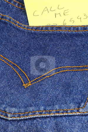 Message in a pocket stock photo, Message call me in a bluejeans pocket by Francesco Perre
