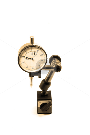 Micrometer stock photo, Precision micrometer tool isolated on white background by Francesco Perre