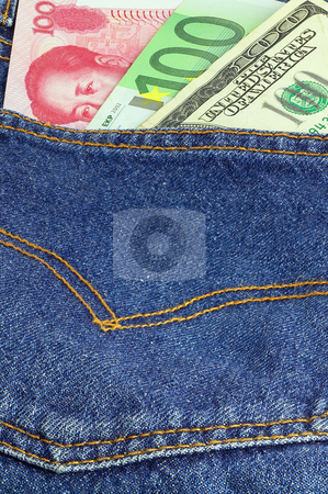 Bluejeans and money stock photo, Money bills on pocket of a pair of blue jeans by Francesco Perre