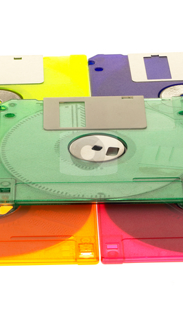 Coulorful floppy disk stock photo, Coulorful plastic floppy disk on white background by Francesco Perre