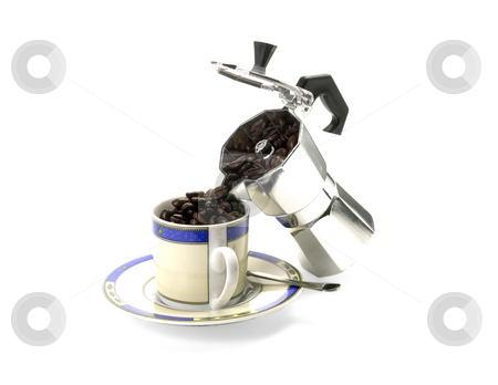 Cofee beans cup stock photo, Cofee beans cup puored from coffee machine by Francesco Perre