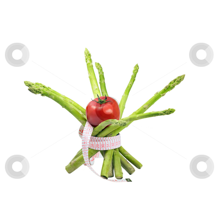 Asparagus and tomato stock photo, Asparagus and tomato with a meter around ,isolated on white background by Francesco Perre