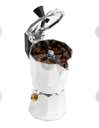 Coffee beans and mocha machine stock photo, Coffee beans and mocha machine on white background by Francesco Perre