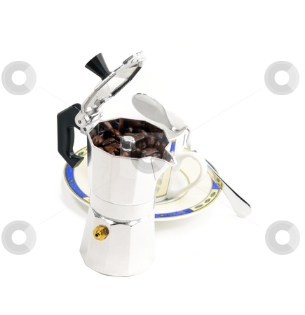 Mocha coffee machine and cup stock photo, Mocha coffee machine and cup isolated on white background by Francesco Perre