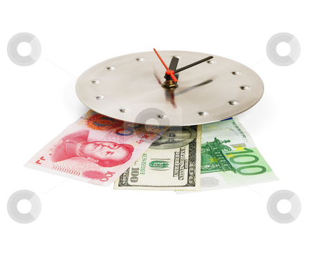 Currency on a clock stock photo, Currency bills on a stainless steel clock clock isolated on white back ground by Francesco Perre