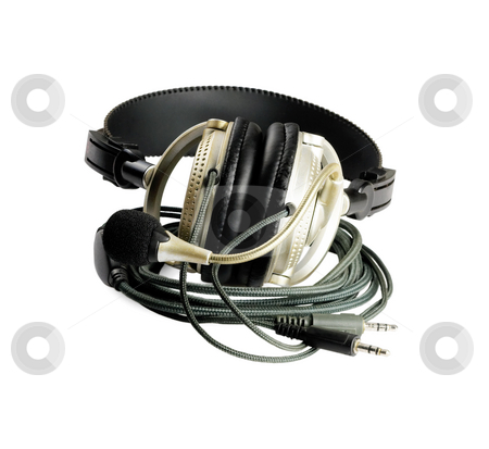 Headphones stock photo, Hi-fi headset isolated on white background by Francesco Perre