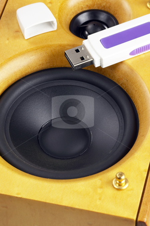 Loudspeaker and usb key stock photo, Wood hi-fi loudspeaker with usb key on top by Francesco Perre