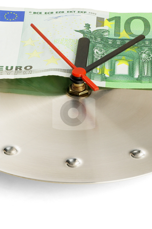 Clock and euro bills stock photo, Euro bill on a metal wall clock on white background by Francesco Perre