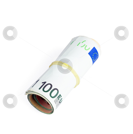 Euro bills stock photo, Euro bills in a roll isolated on white background by Francesco Perre