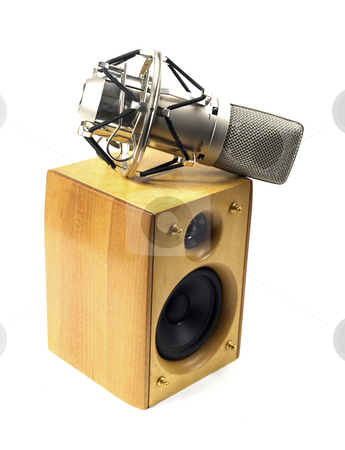 Speaker and microphone stock photo, Speaker and microphone on white background by Francesco Perre