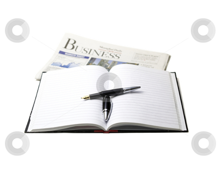 Newspaper, pen and notebook stock photo, Newspaper, pen and notebook on white background by Francesco Perre