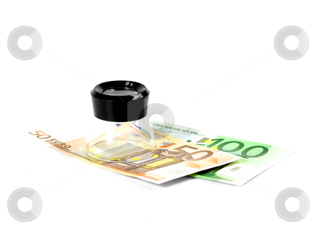 Euros bills and a lupe stock photo, Euros bills and a lupe on white background by Francesco Perre