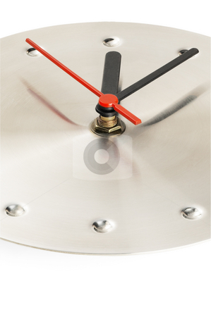 Clock stock photo, Stainless steel wall clock  on white background by Francesco Perre