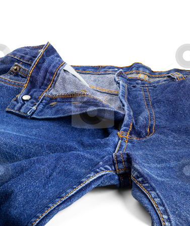 Bluejeans stock photo, Pair of bluejeans opened on white background by Francesco Perre