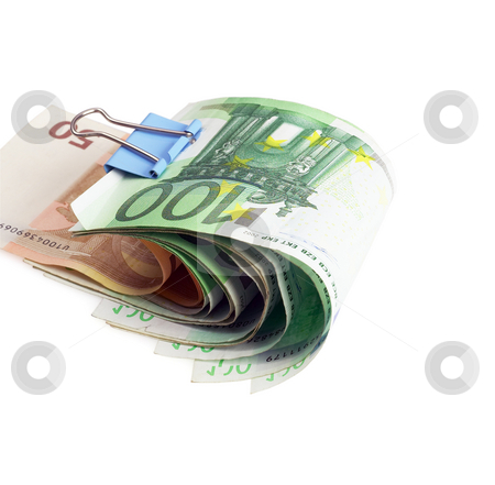 Euro bills stock photo, Euro bills with paper clip on white background by Francesco Perre